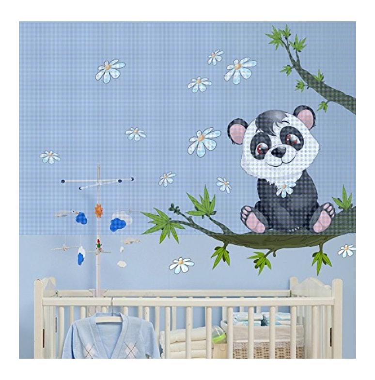 Murs oniriques stickers muraux panda sur sa branche Chambre bebe panda